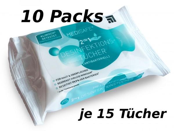 Careline Medisafe Desinfektionstücher 2in1 - Stück: 10