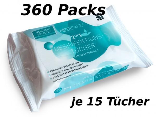 Careline Medisafe Desinfektionstücher 2in1 - Stück: 360