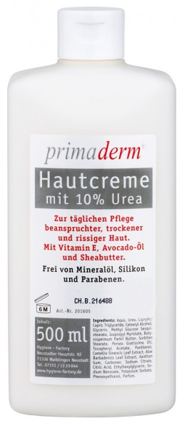 PrimaDerm Hautcreme 10% Urea, 500 ml