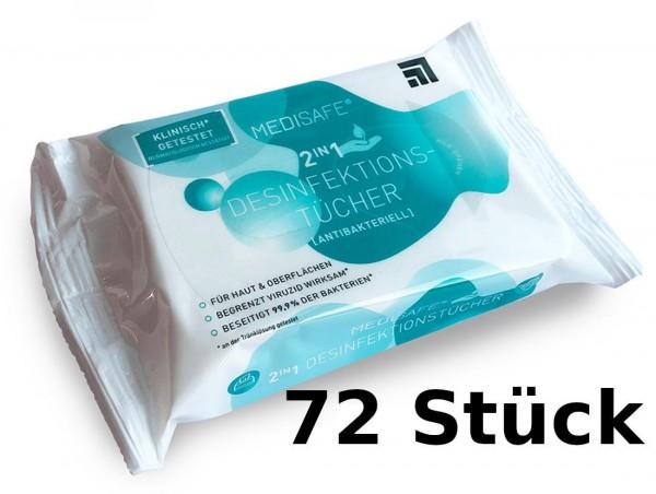 Careline Medisafe Desinfektionstücher 2in1 - Stück: 60